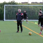 Danny Lennon leads a passing and movement drill.